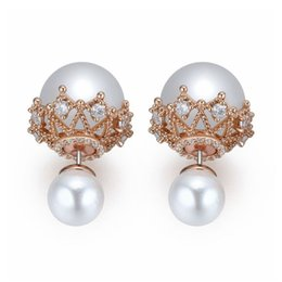 Chinese  2018 New Big brand zircon hollow double Pearl Earrings Bride's wedding jewellery Copper plated pearls with gold manufacturers