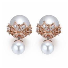 2018 Nueva marca grande de circonita hueca doble Pendientes de perlas Joyas de la boda de la novia Perlas chapadas de cobre con oro