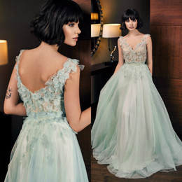 Ivory Fancy Dress NZ - 2019 Fancy Prom Dresses V Neck 3D Floral Appliques Beaded Evening Dress Sexy Illusion Tulle A Line Cocktail Party Dresses