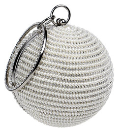 beads handbags UK - The Latest Variety Of Colors European and American Round Dinner Bag Ladies Gold-plated Silver Pearl Handbag
