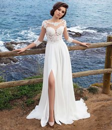 Wholesale 3 Long Sleeves Beach Bohemian Wedding Dresses Chiffon Scoop Neck Appliques Long Bridal Gowns With Side Split