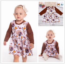 051adc761c68 Coffee long dress online shopping - Ins Girls Thanksgiving Day Dresses Kids  Turky Pumpkins Print Princess