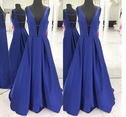 China 2018 Blue A Line Prom Dresses Deep V Neck Sleeveless Sexy Back Floor Length Prom Gowns Evening Dresses supplier modern gown black white suppliers