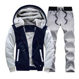 ASALI Mens Winter Casual Sportwear Trajes 2018 Carta de impresión Hombres  chándal chaqueta + pantalones sudadera conjunto grueso cremallera de lana  caliente c6f6b3d51db2
