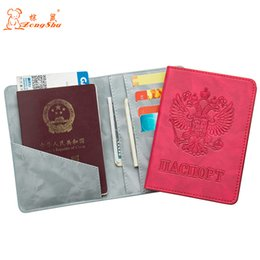 $enCountryForm.capitalKeyWord NZ - Russian New shine double-headed eagle convenient PU Leather passport holder Built in RFID Blocking Protect personal information