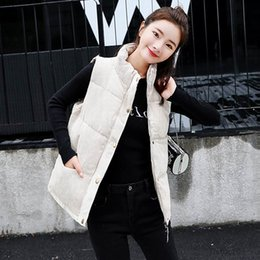 zipper vests NZ - Autumn Mandarin Collar Zipper Vest Waistcoat Lady Office Wear Short Waistcoat Women Down Cotton Casual Sleeveless Vest Jacket