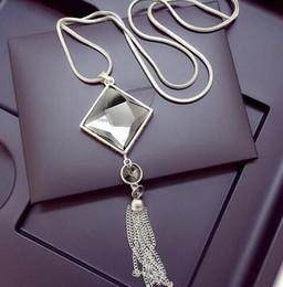 $enCountryForm.capitalKeyWord Australia - Fashion Women Pendant Necklace Square Big Drop Crystal Long Chain Sweater Tassel Necklaces Jewelry