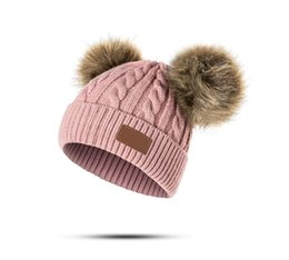 Knit Infant Hats NZ - Baby Boys Girls Pom Poms Hat Children Winter Hat For Girls Knitted Beanies Thick Baby Hat Infant Toddler Warm Cap TO978