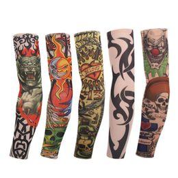 Cool Foot Tattoos Canada - 8 Pcs New mixed 100%Nylon Elastic Fake Temporary Tattoo Sleeve Designs Body Arm Stockings Tatoo for Cool Men Women Free shipping
