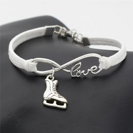 $enCountryForm.capitalKeyWord NZ - AFSHOR New Casual Simple Antique Silver Love Infinity Ice Figure Skating Boots Shoes Charm Pendant Leather Bracelet Best Gift for Women Men
