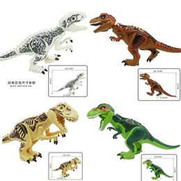 World Blocks NZ - Jurassic Dinosaur World T-Rex Raptor Triceratops Figure Toy for Boy Big Size Building Block