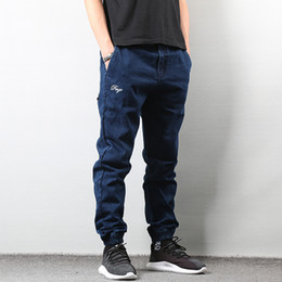 High Street Fashion Uomo Jeans Blu Colore Stile giapponese Design vintage  Ankle Banded Jogger Jeans Homme Pantaloni cargo Hip Hop Uomo 7aea59d53394