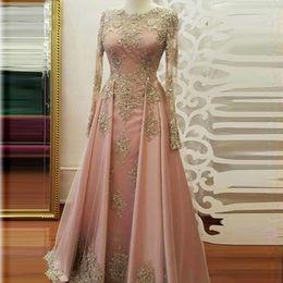 $enCountryForm.capitalKeyWord Australia - Muted Pink Evening Formal Dresses Vestidos Muslim Middle East Women Lace Maxi Gowns Elegant Guest Floor Length Dress High Quality Custom