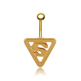 superman chains NZ - Charming Body Piercing Jewelry 1 Piece Navel Bar Ring Stainless Steel Superman Navel Belly Button Ring Body-0283
