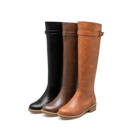 $enCountryForm.capitalKeyWord UK - knee boots buckle strap large size womens booties flat botines mujer 2018 lwo heel winter woman shoes botas gamuza european