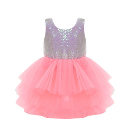 Wholesale cute lolita dresses for sale – halloween Girl Dress Cute Sequin Sleeveless Vest Princess Lace Dress Baby Kids Party Wedding Bridesmaid Vestido with Bowknot Backless