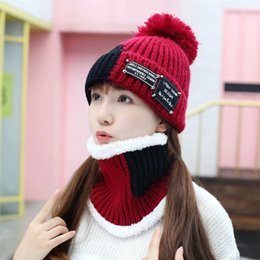 179ce5100c295 Winter Warm Pom Poms Wool Hat And Scarf Set For Women Patchwork Thick  Knitted Windproof Hats Scarf Set Women Beanie Hat Skullies