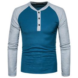 7d20b01d0f Camiseta para hombre 2018 Marca Parche de color Manga raglán Casual  Camiseta delgada de manga larga Hombre Algodón Tallas grandes Negro Blanco  Rojo Azul