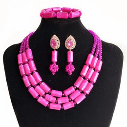 Coral Beads China Australia - 3 Rows Pink Imitation African Coral Jewelry Set for Women Nigerian Wedding Beads African Beads Bridal Costume Necklace FS3-111