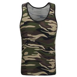 cf0db9549fbe66 2017 SAVIVA Men Tank Top Cotton High Quality O-neck Striped Tee Camo Army  Green Sleeveless for wholesale Camouflage Tank Tops