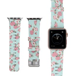Wholesale Silicone Watch Band for Apple Watch mm mm Series Series Series Flower Strap Floral Prints Wrist Watch Sports Bracelet