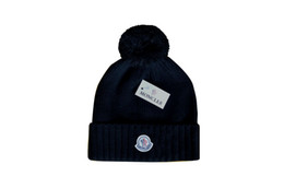 Nuevos sombreros de invierno de estampado para hombres mujeres tejer gorro de sombrero Pom Poms Brand Beanie Hat LadiesThicken Hedging Warm Skullies Female Bone