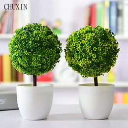 Plants Decorative NZ - Artificial Plants Ball Bonsai Fake Tree Decorative Green Plants For Home Decoration Garden Decor 4 Colors 1 Set (Plants +Vase )