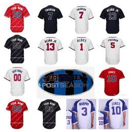 2018 men s 13 Ronald Acuna Jr. Jersey 5 Freddie Freeman 7 Dansby Swanson 10  Chipper Jones 1 Ozzie Albies Atlanta baseball Jerseys 7e32329a7