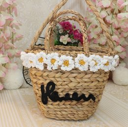 $enCountryForm.capitalKeyWord Canada - Linion 2018 Handmade Natural Rattan Women Handbag Vintage Straw Woven Women's Flower Shoulder Bags For Summer Beach Open Tote