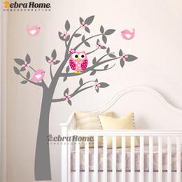 Gufo Vinile Albero Wall Sticker Decalcomanie Murale Carta da parati Bambini Bambini Baby Room Nursery Camera Sticker Albero di Capodanno Decorazione della casa in Offerta