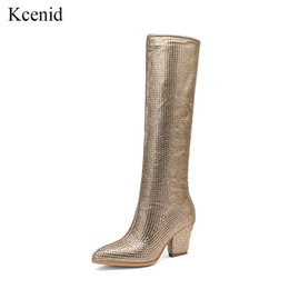 Wholesale Kcenid New design women fashion rhinestone party shoes pointed toe bling bling the knee high boots crystal high heels long boots