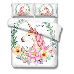 Bedding Sets For Sale UK - Cartoon Unicorn Bedding Set Floral Printed Bed linens Queen King Size 3pcs Duvet Cover For Kids Flat Sheet Pillow case Hot sale