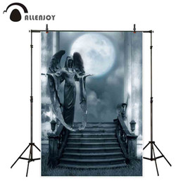 photography backdrops night 2019 - Allenjoy backgrounds for photography studio Dim night moon gloomy horror angel statue backdrop Halloween new design phot
