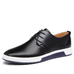 Chinese  New 2018 Men Casual Shoes Leather Summer Breathable Holes Luxury Brand Flat Shoes for Men Drop Shipping manufacturers