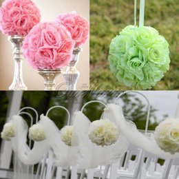 silk wedding pomanders UK - New Design Artificial Silk Flower Rose Balls Wedding Centerpiece Pomander Bouquet for Wedding Party Decoration Decorative Flowers