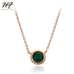 Rose Pendant Jewellery Australia - Top Quality N454 Simple Style One GREEN Crystal Necklace Rose Gold Color Fashion Jewellery Nickel Free Pendant Crystal