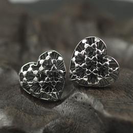 $enCountryForm.capitalKeyWord NZ - Original Design Real 925 Sterling Silver Stud Earrings For Women Heart Shape Hollow Design Vintage Earrings Luxury Jewelry