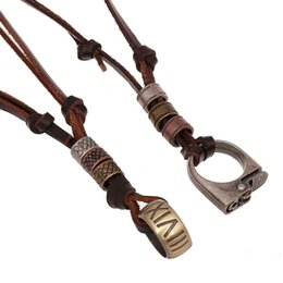 Discount silver chain designs for man - Wholesale- 2016 New Design punk Style Leather Necklace Alloy Antique Silver Lighter Vintage necklaces Pendants Jewelry F