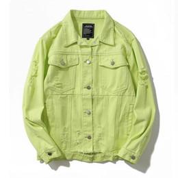 Male green jeans online shopping - Green Ripped Hole Distressed Denim Jackets Men Women Autumn Hip Hop Fashion Casual Denim Jeans Jacket Male Streetwear