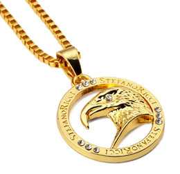 crystal eagle necklace jewelry NZ - 18k eagle Necklace Fashion Hip Hop Jewelry Gold Plated Design 60cm Chain Punk Rock Filling Pieces Mens
