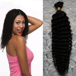 Weft Bulk Human Hair For Braiding NZ - Human hair for braiding bulk no attachment Bundles 100g curly human braiding hair bulk no weft