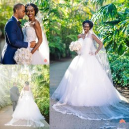 $enCountryForm.capitalKeyWord NZ - 2019 Vintage Arabic Black Girl Plus Size Wedding Dresses A Line Beads Lace Up Bridal Gowns Elegant robes de mariée