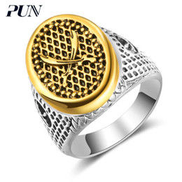 $enCountryForm.capitalKeyWord NZ - PUN muslim islam finger ring punk male antique gothic silver steel vintage ring gold mens signet rings for men bts accessories