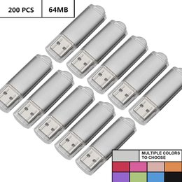 Thumb Flash Drive Australia - Silver Bulk 200PCS 64MB USB 2.0 Flash Drives Rectangle 64MB Pen Drives Flash Memory Sticks Thumb Storage for Computer Laptop Tablet Macbook