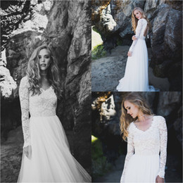 simple sexy chic wedding dresses Canada - 2019 Elegant Bohemian Chic Wedding Dresses V Neck Lace Long Sleeve Beautiful Country Bridal Open Back Tulle Princess Simple Winter Plus Size