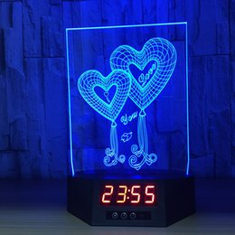 star night light boxes 2019 - Double Heart 3D Illusion Clock Lamp Night Light RGB Lights USB Powered 5th Battery IR Remote Dropshipping Retail Box che