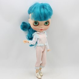 overalls suit girls 2019 - for dolls Blyth doll Pink and Blue Stripe Overalls for the JOINT body naughty and cute suit ICY NEO discount overalls su
