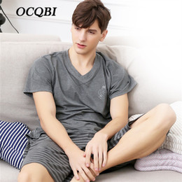 bea27e718c44 New Arrivals Plus Size Summer Tops for Men 2018 Pajama Sets Mens Two Piece  Shorts Sleepwear High Quality