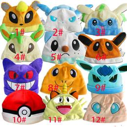Pokemon cotton online shopping - 2018 New Pokes Pikachu Jigglypuff Gengar Boys Girls Plush Hats Children Cartoon Cap Free DHL XL H05