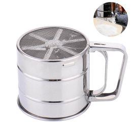 Sifter de farinha de malha cozimento mecânico confeiteiro shaker peneira copo forma de aço inoxidável bakeware assar ferramentas de pastelaria em Promoção